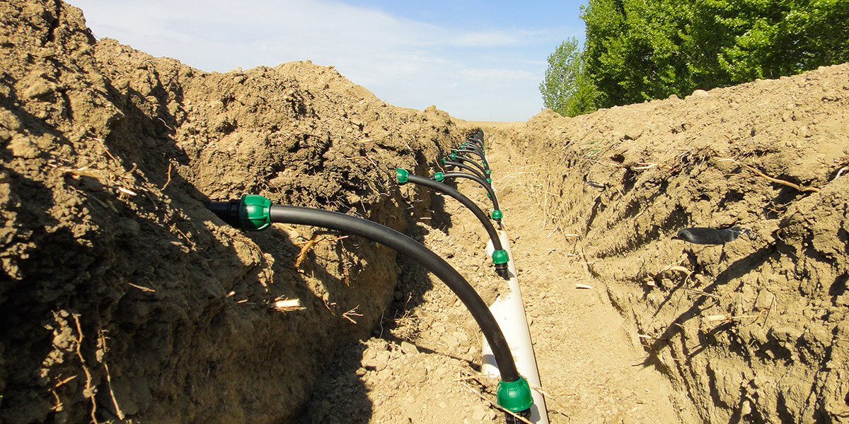 subsurface drip irrigation install
