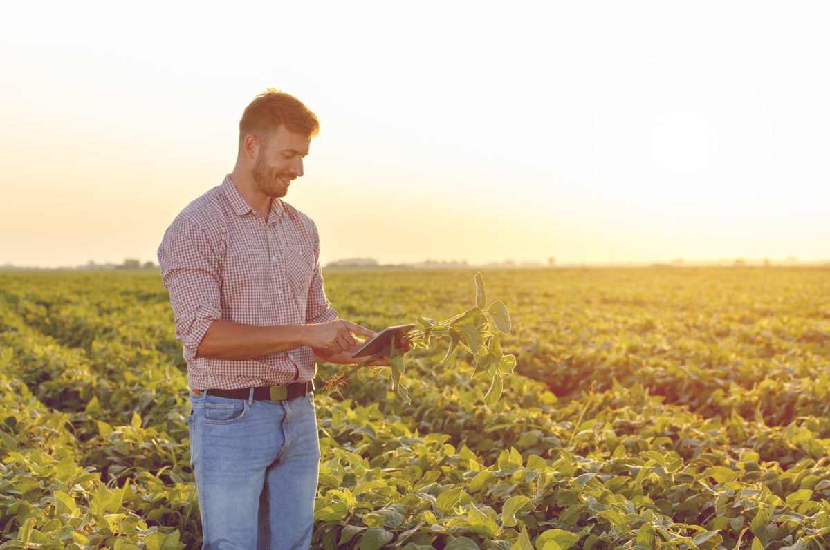 farmer holding smart phone technology